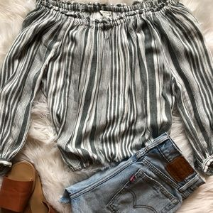 Forever 21 Striped Strapless Long Sleeve Shirt